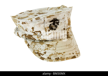Marine utility cover.  8-pointed cotton twill desert tan cap with embroidered emblem featuring Eagle, Globe and - Stock Photo
