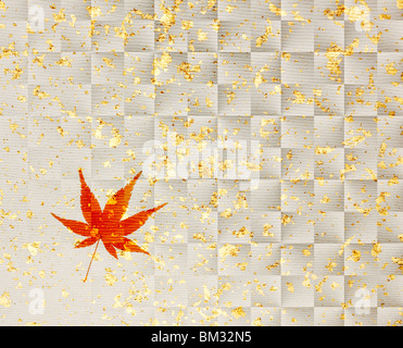 Image of colored maple leaf on silver Japanese paper, full frame - Stock Photo