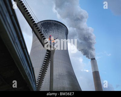 Workers At Coal Fired Power Station - Stock Photo