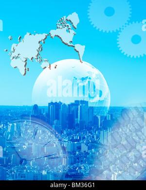 Cityscape and image of world map and globe, toned image - Stock Photo