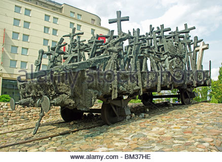 Monument to those Fallen and Murdered in the East Warsaw Poland - Stock Photo
