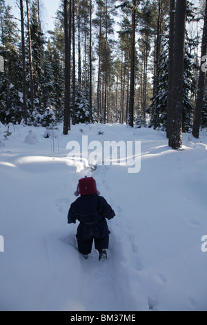 Baby toddler walks walking path track through snow covered forest near Godby on land Aland archipelago Finland - Stock Photo
