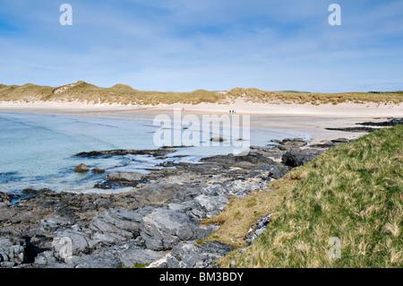 Stunning sandy beach and bay of Balnakeil Bay, Durness, Sutherland in Scotland - Stock Photo