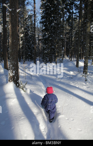 Baby toddler walks walking path track through snow covered forest near Godby on land Aland archipelago Finland - Stock Photo