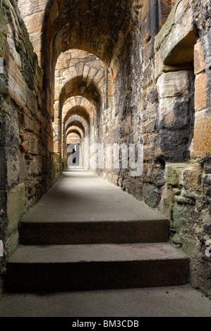 Arched passageway in Linlithgow Palace outside of Edinburgh, Scotland - Stock Photo