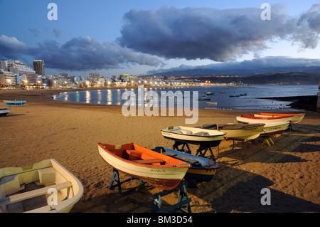 Fishing boats on the beach. Las Palmas de Gran Canaria, Spain - Stock Photo