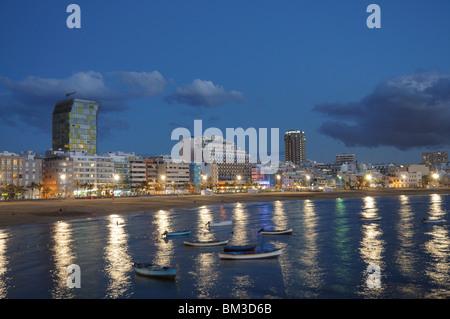 Las Palmas de Gran Canaria at night, Grand Canary Spain - Stock Photo