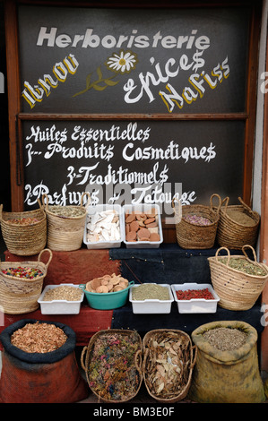Display of Herbs & Spices in Front of a Moroccan Herbalist Shop or Stall in Souk Marrakesh Morocco - Stock Photo