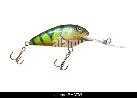 fishing hook bait wobbler isolated on white background - Stock Photo