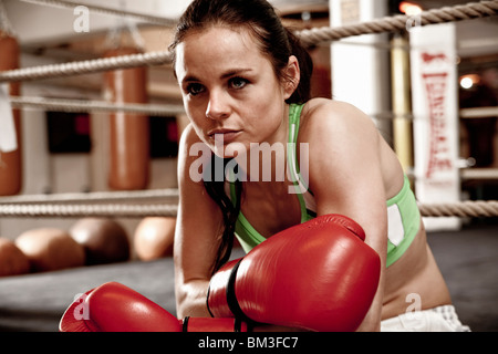 Young woman resting at boxing - Stock Photo