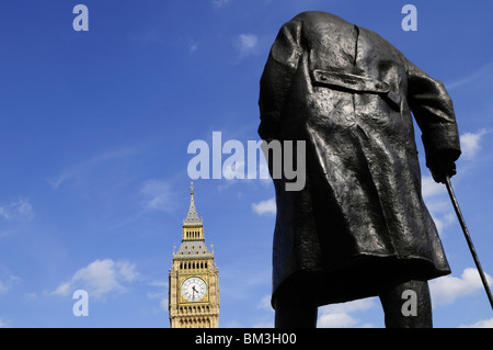 Statue of Sir Winston Churchill and Big Ben, Parliament Square, Westminster, London, England, UK - Stock Photo