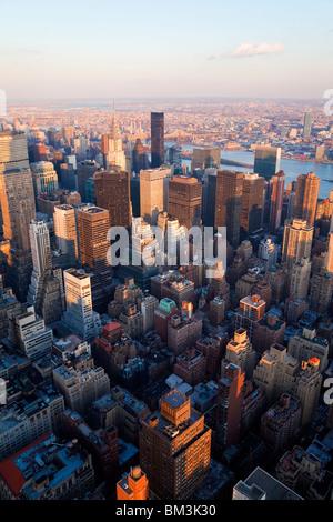 USA, New York City, Manhattan, Elevated view of midtown Manhattan - Stock Photo