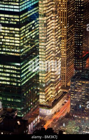 USA, New York City, Manhattan, Elevated view of mid-town Manhattan - Stock Photo