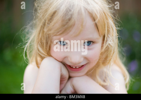 portrait of happy 4 year old girl - Stock Photo