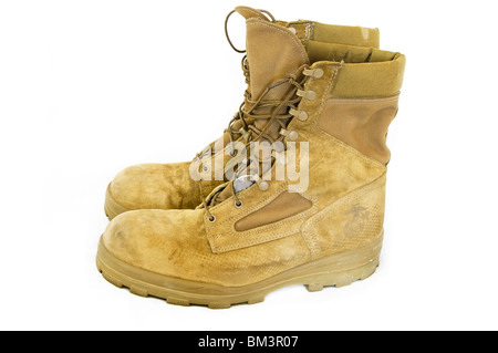 Side view of tan 'olive mojave' suede USMC military boots. - Stock Photo
