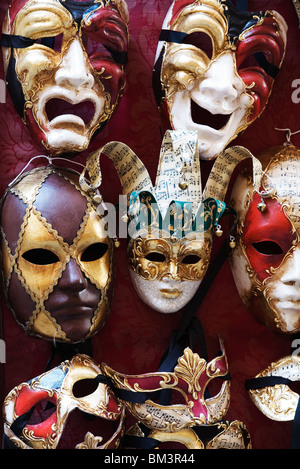 Venice - Traditional Venetian carnival face masks - Stock Photo