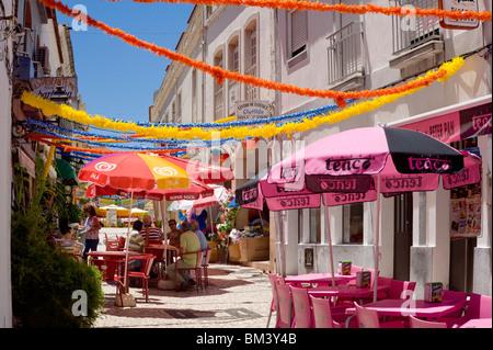 Portugal, The Algarve, Street Cafés In Silves - Stock Photo