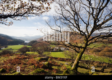 Distant view above the village along Dyffryn Mymbyr valley in Snowdonia National Park. Capel Curig Conwy North Wales UK Britain
