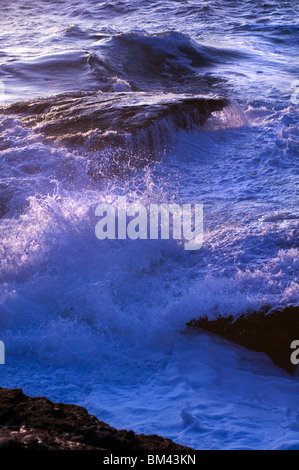 Rough seas at Trebarwith Strand on the north coast of Cornwall in England, UK - Stock Photo