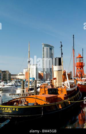 tug boat swansea national waterfront museum swansea maritime quarter south wales uk - Stock Photo