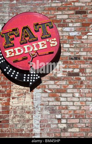 Fat Eddie's jazz bar on Sol Square. Christchurch, Canterbury, South Island, New Zealand - Stock Photo