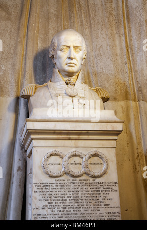 Bust of Admiral Lord Collingwood of Hethpool and Coldburn in St Nicholas cathedral in Newcastle upon Tyne, England, - Stock Photo