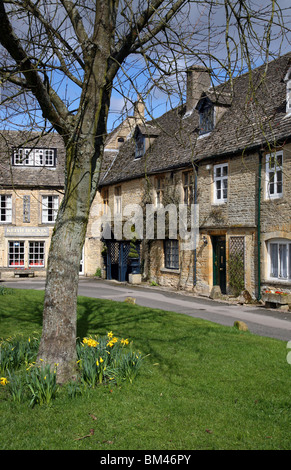 Quiet corner of Stow-on-the-Wold just off the square at springtime, Stow is a popular Cotswold market town on the - Stock Photo