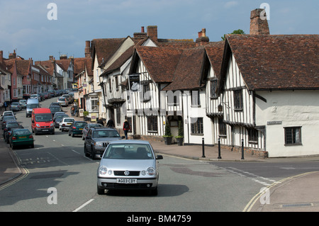 The narrow streets of the village of Lavenham, Suffolk, UK. - Stock Photo