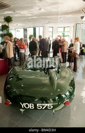 Famous vintage Lister Jaguar sports car exhibited in the Jaguar dealership, Marshalls Cambridge UK - Stock Photo