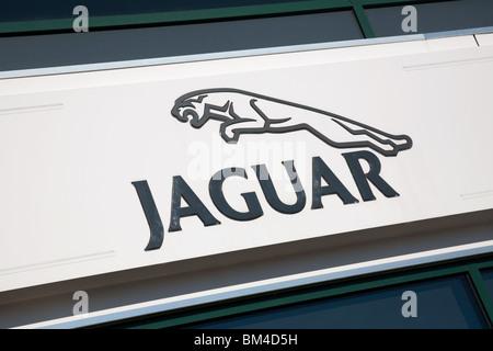 Jaguar car dealership sign, Marshalls Jaguar, Marshalls, Cambridge UK - Stock Photo
