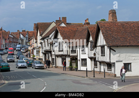The Swan hotel and high street, Lavenham, Suffolk, UK. - Stock Photo