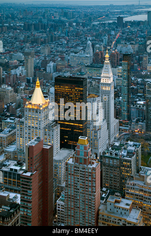 USA, New York City, Manhattan, Elevated view of Mid-town Manhattan at dusk - Stock Photo