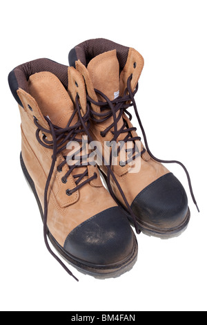 steel toe safety boots isolated on white background - Stock Photo