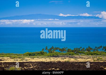 Kiholo Bay with Maui in Background, Kohala Coast, Big Island, Hawaii, USA - Stock Photo