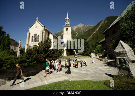 Church in the village of Chamonix-Mont-Blanc, France, Europe - Stock Photo