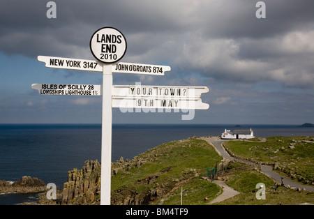 Sign post at Land's End Cornwall - Stock Photo