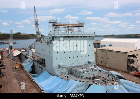 Ship in dry dock at Falmouth in Cornwall - Stock Photo