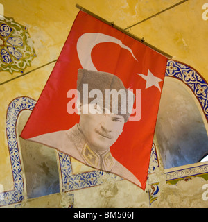 Turkish flag with portrait of Ataturk - Stock Photo