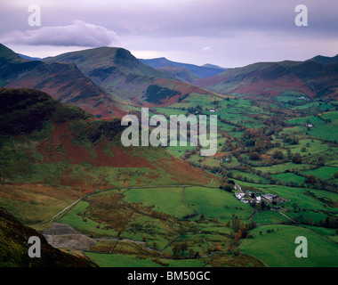 View from Cat Bells over the Newlands Valley and the hamlet of Little Town in the Lake District National Park, Keswick, - Stock Photo