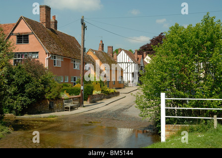 The ford crossing the road in Kersey, Suffolk, England. - Stock Photo