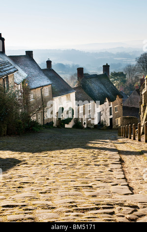 Gold Hill Shaftesbury Dorset taken in late winter - Stock Photo
