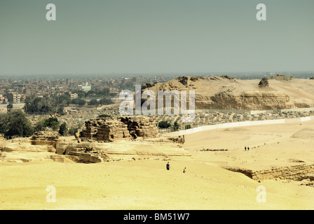Giza Central Field, Cairo, Egypt (Rock cut tombs, Tomb of Khentkawes, Eastern Cemetery, Village of Nazlet el-Samman) - Stock Photo