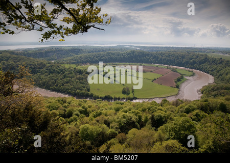 THE RIVER WYE AND CHEPSTOW FROM EAGLES NEST WYE VALLEY VIEW POINT - Stock Photo