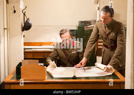 Model of army officers planning military strategy in the Churchill War Rooms museum, London, England, UK - Stock Photo