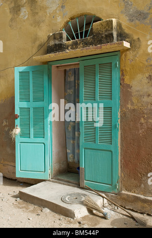 Colourful door of a colonial house in the island of Goree, Dakar, Senegal, Africa. - Stock Photo