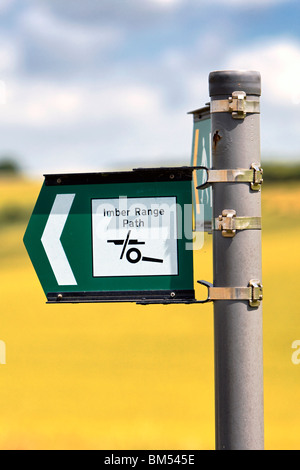 Imber Range Path Signpost on the  Salisbury Plain Training Area (SPTA) in Wiltshire United Kingdom - Stock Photo