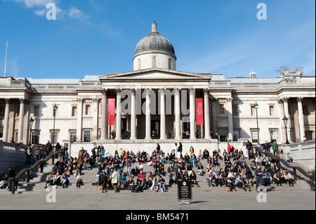The National Gallery in Trafalgar Square, London, England, UK - Stock Photo