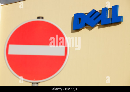 stop sign in front of the Dell Call-Center for Germany in Halle (Saale) - Stock Photo