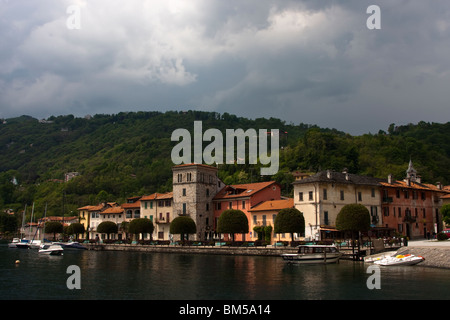 Pella, village on the shore of lake Orta, Piemonte, Italy - Stock Photo