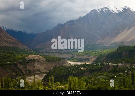 Hunza Valley at Karimabad, Pakistan - Stock Photo